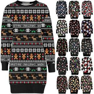 Ladies-Womens-Christmas-Party-Xmas-Novelty-Knitted-Tunic-Retro-Dress-Warm-Jumper