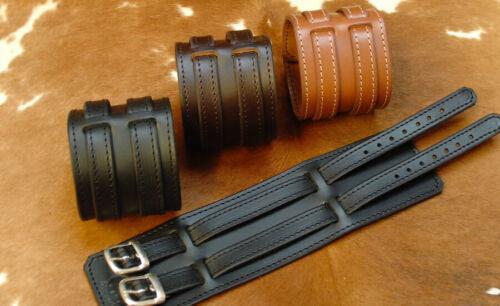 Bracelet de force en cuir 2 brides Modèle Grand Luxe