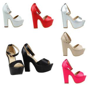 Senoras-para-mujer-Correa-de-tobillo-Plataforma-Gruesa-Sandalias-De-Tacon-Alto-Zapatos-Talla-3-8-UK
