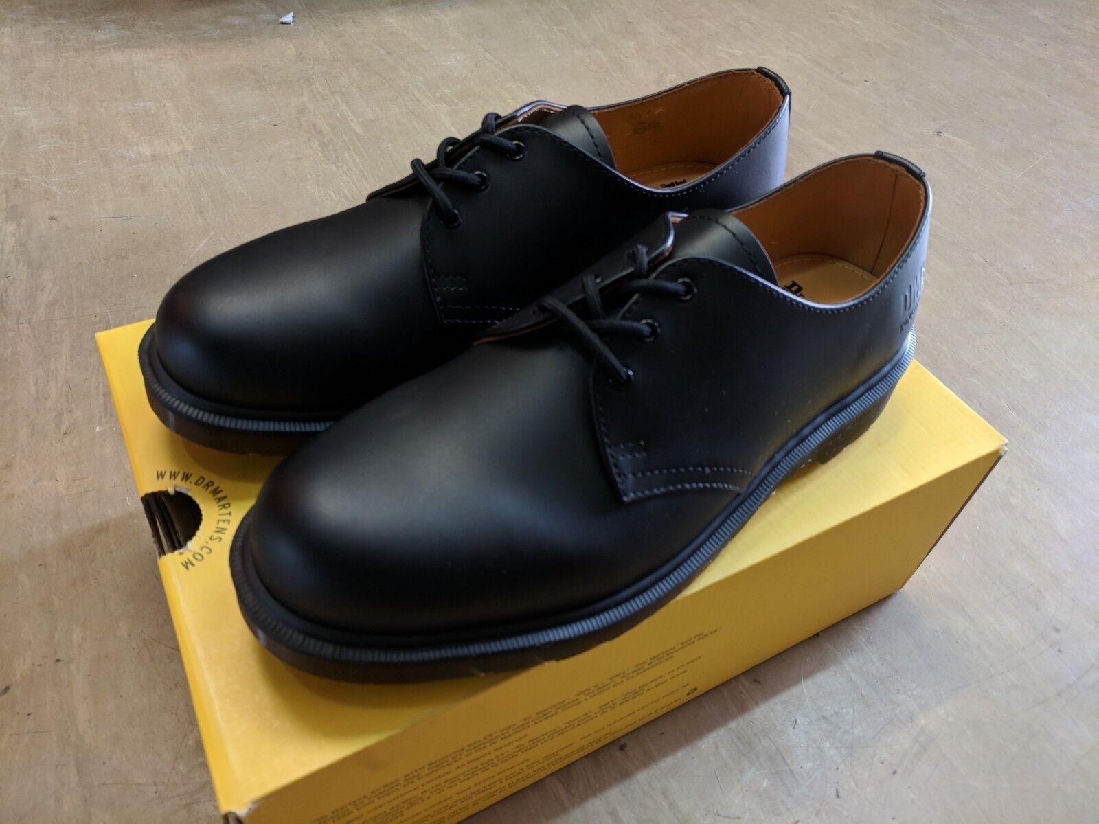 Nuevo Dr Martens industrial AirWair Cuero Negro Acero no trabajo zapatos talla 7 Reino Unido