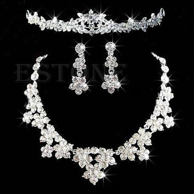 Wedding Bridal Rhinestone Crystal Topknot Tiara Necklace Earrings Jewelry Set