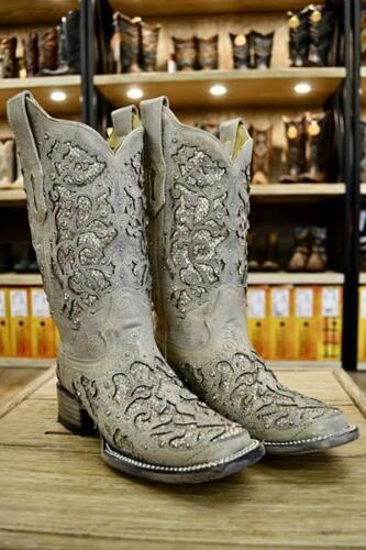 Corral Ladies White Glitter Inlay /& Crystal Square Toe Boots A3397