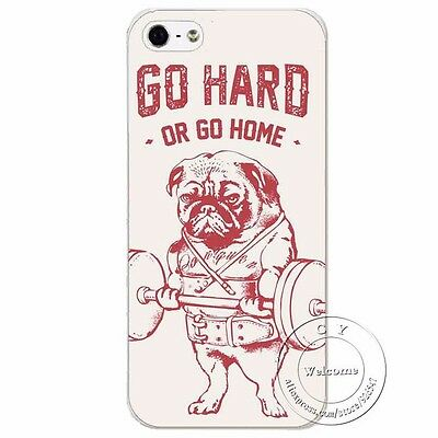 Funny Pug Dog Weightlifting GO HARD OR GO HOME Hard Case for iPhone