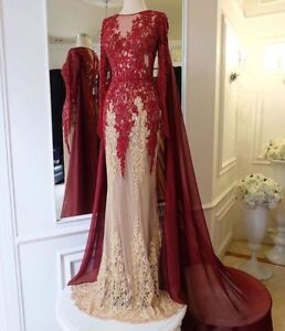 Red Arabic Long Prom Dresses with Cape Lace Appliques Formal Party Evening Gowns