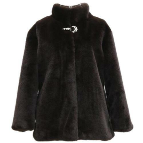 Womens Faux Mink Fur Jacket Short 7XL 8XL 9XL Stand Collar Thick Winter Party L