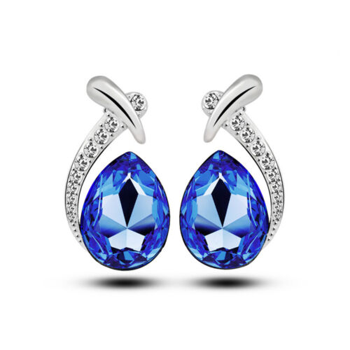 Royal Blue Wave Diamante Shine Women Studs Earrings for Ladies for Wedding E1136