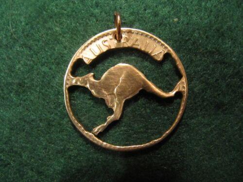 HANDMADE COIN CUT OUT PENDANT AUSTRALIA LARGE PENNY KANGAROO 1950S
