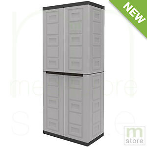 plastic storage cabinet with doors garage cabinet storage 4 shelves adjustable 2 doors 24794