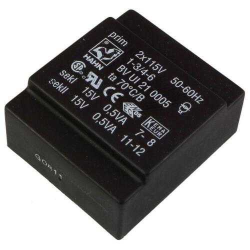 HAHN BVUI210005 Flach-Trafo 1VA 2x115V 2x15V 2x33mA Flachtransformator 856364
