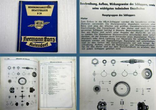 Lanz Hela D24 Betriebsanleitung Ersatzteilliste ca 1955-1960 orig