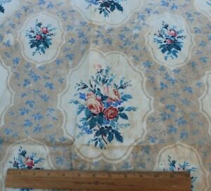 """Lovely Antique c1860 French Hand Blocked Rose Cotton Chintz Fabric~L-32""""X W-31"""""""