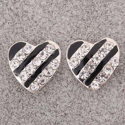 silver plt black strips Crystal Rhinestone line Heart Ear Stud Earrings Jewelry
