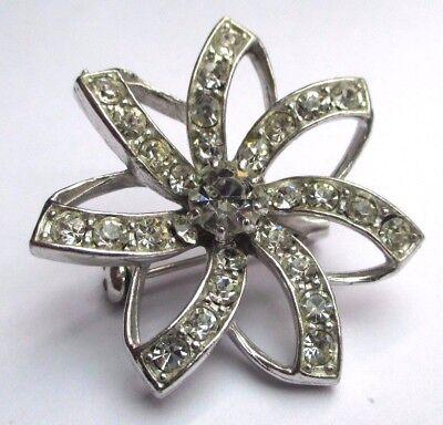 Attento Belle Broche Couleur Argent Bijou Vintage étoile Incrustée Cristaux Diamant 2563