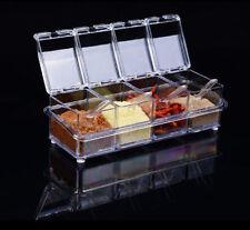 Crystal condimento Scatola Barattolo per spezie contenitore Dispenser Sale rack di stoccaggio con cucchiaio