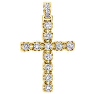 10k or Jaune Croix Charm Pendentif Pour Collier