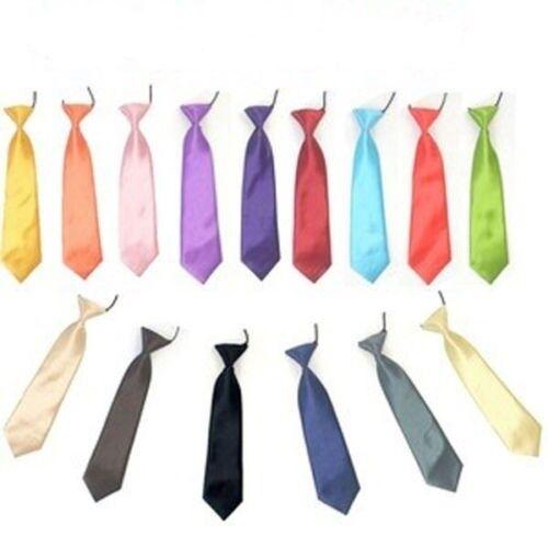 Satin Elastic Neck Tie for Wedding Prom Boys Children School Novelty Kids Ties
