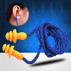 10Pair Soft Silicone Ear Plug Reusable Hearing Protection Earplug With Corded ~