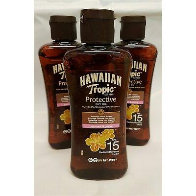 Hawaiisch Tropic Schutz- Dry Sonnencreme Öl SPF 15 Sonnenschutz Bräunungs 100ml