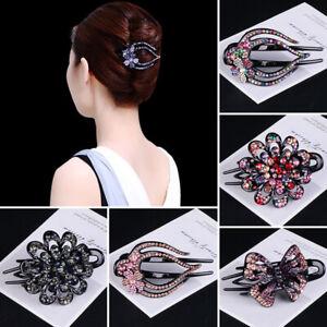 Fashion-Women-Girls-039-Crystal-Hairpin-Flower-Hair-Claw-Hair-Jewelry-Accessories