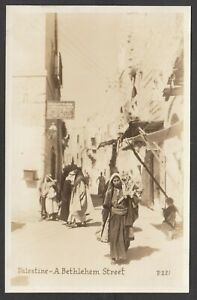 Postcard Middle East Palestine locals in A Bethlehem Street early RP