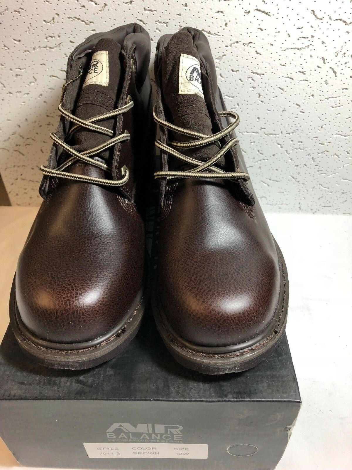 AIR BALANCE MEN INSULATED 4  GENUINE LEATHER CONSTRUCTION BOOTS SIZE 12W BROWN
