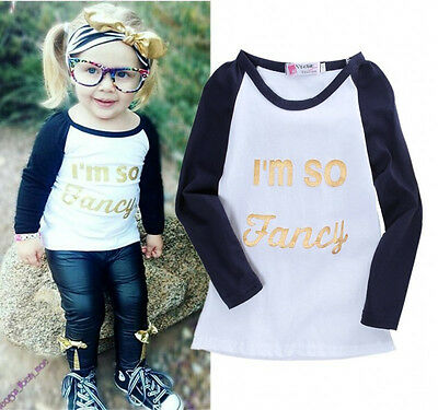 Fashion Baby Toddler Kids Girls Letter Long Sleeve T-shirt Tops Clothes 2-7Y