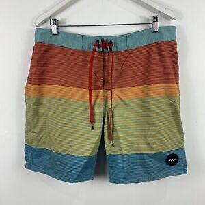 RVCA-Mens-Board-Shorts-Size-36-Swim-Shorts-Multicoloured-Striped-Classic-Fit