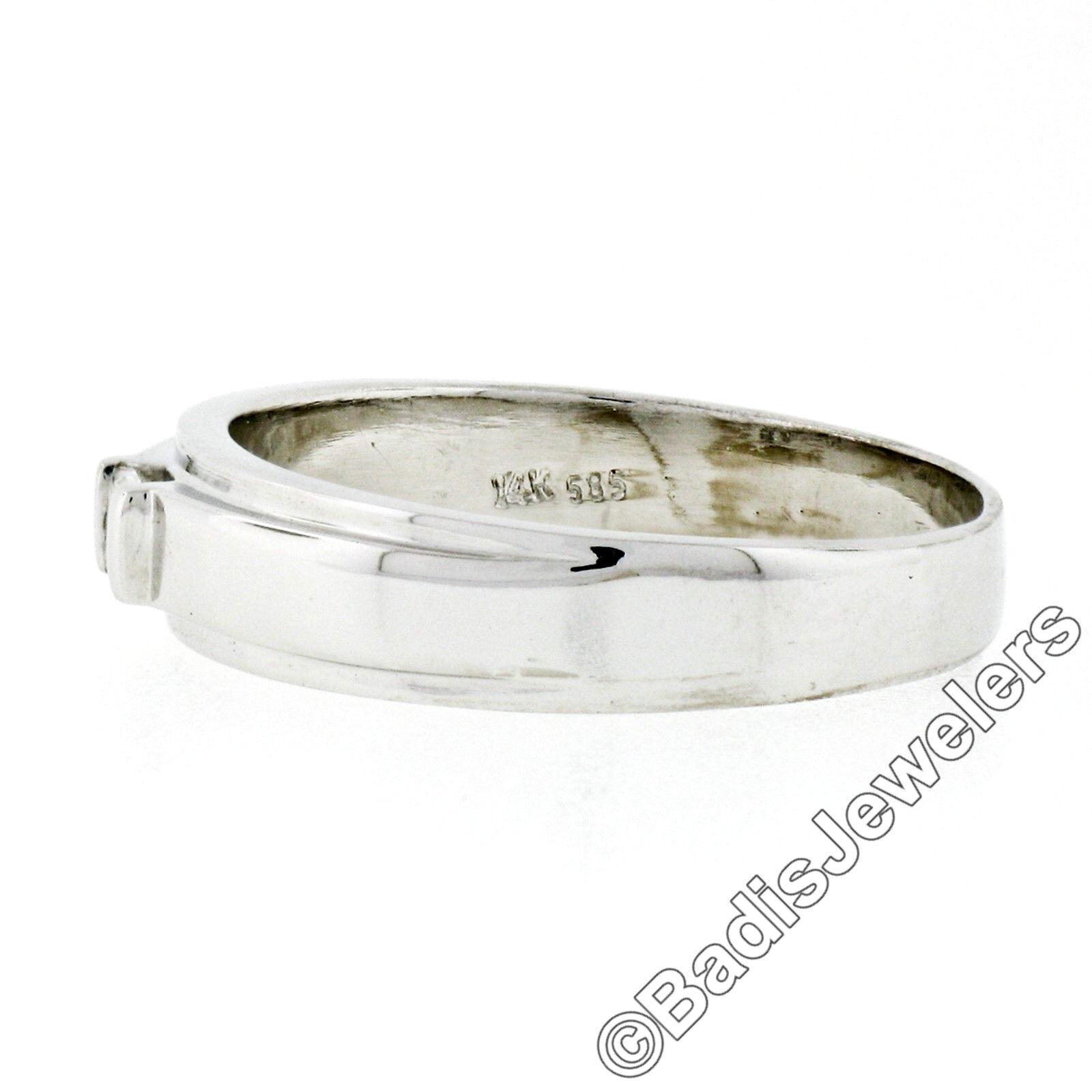 Unisex 14k White Gold .15ct Princess Cut Bar Set … - image 6