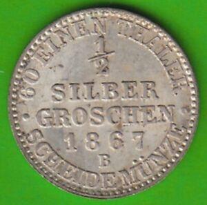 Prussia 1/2 Silver Pennies 1867 B Almost Bu Good nswleipzig