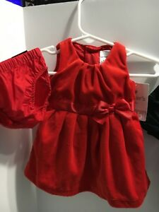 8ae1768f6b6e NEW Carter s Baby Girl 3 Month Holiday Velvet Red Dress and Red ...