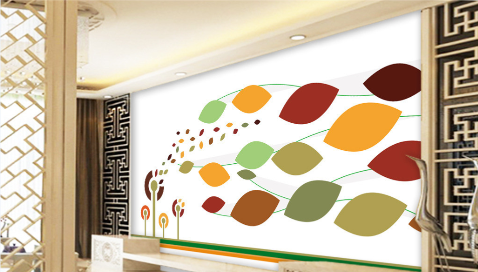 3d Abstract Colour Leaves 72 Wandpaper Mural Wandpaper