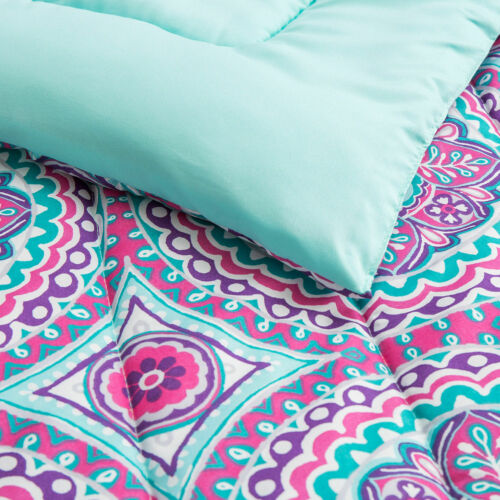 Aqua Blue Pink Purple Medallion 11 pc Comforter Sheet Set Twin Full Size Bed Bag