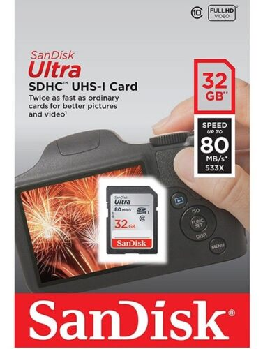 SanDisk 32GB SD 80MB//s Memory Card For Panasonic Lumix DMC-TZ60 Digital Camera