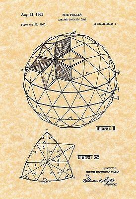 Patent Print - Geodesic Dome Buckminster Fuller Fig.1-16. 7 Prints
