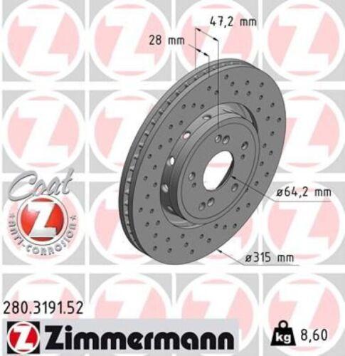 Zimmermann Disque de Frein Disques De Frein Jeu Freins Sport Coat Z avant