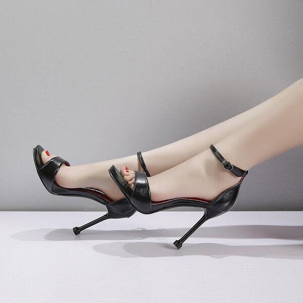 Sandali  stiletto 11 cm negro gioiello  spillo tacco tacco tacco simil pelle eleganti  1412  auténtico