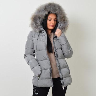 ATTENTIF PARIS Womens Parka Raccoon Fur Quilted Coat (12, BlackBrown Fur)