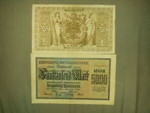 1922 Germany 5000 Mark and 1910 Germany 1000 marks lot of 2 notes nice condition