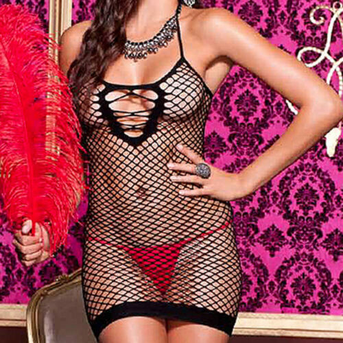 Details about  /Size Regular Black Spandex Net Mini Dress Lingerie Chemise w// Open Back  ML6367