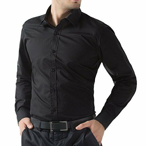 Men/'s Shirt Casual Dress Luxury Long Full Sleeve Formal Black Standard SHIRT