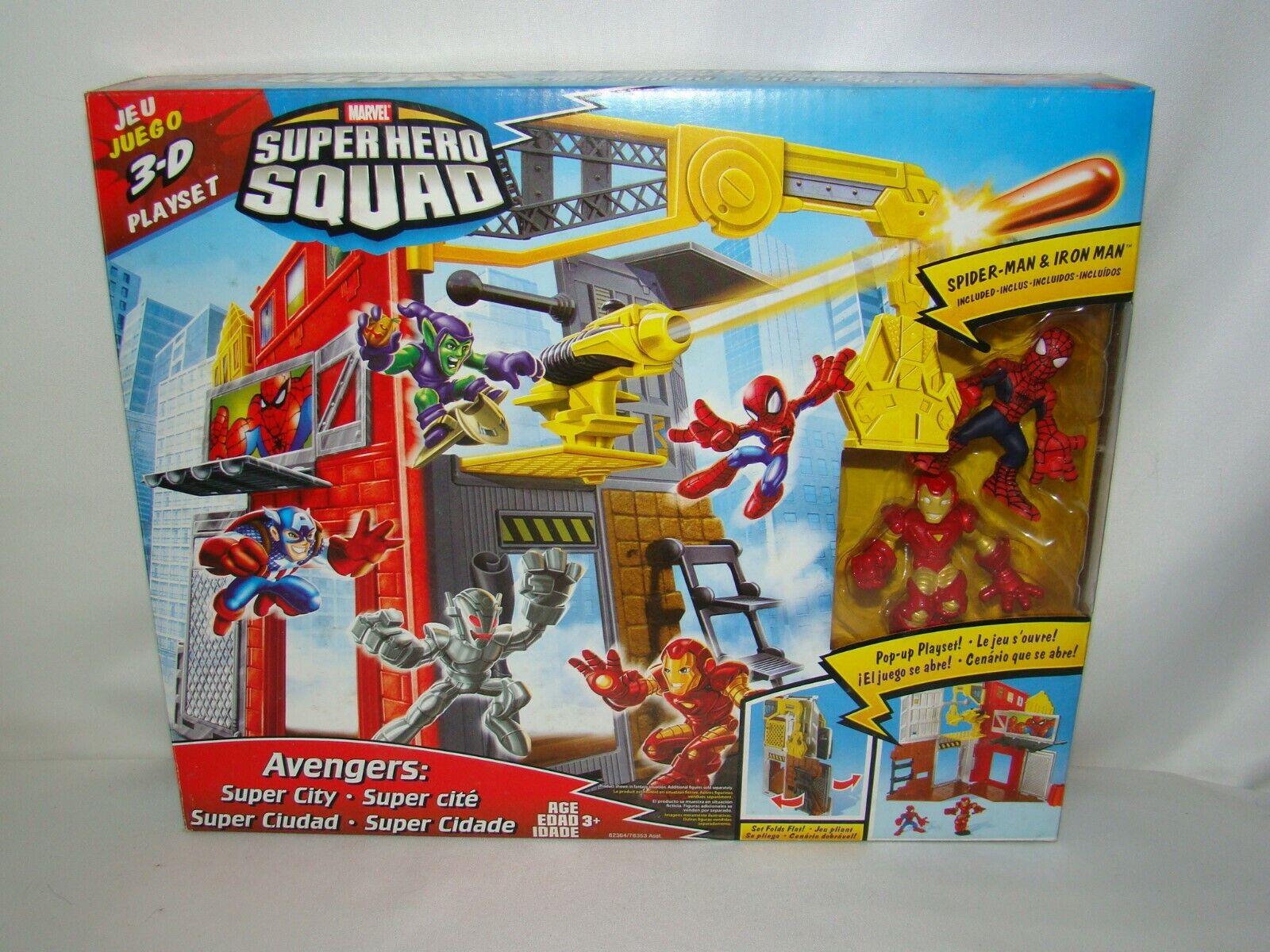 B52 súper Hero Squad Marvel Pop-Up 3D súper City Jugarset con los Vengadores Iron Man Nuevo