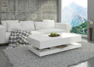 Details zu Couchtisch Hochglanz Weiß Wohnzimmer Tisch Beistelltisch  Kaffeetisch - Tora -