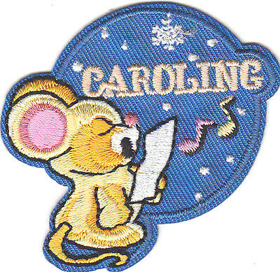 """caroling"" Christmas Patch - Iron On Embroidered Applique Patch/holiday Paquete Elegante Y Robusto"