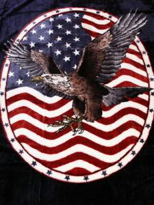 USA-Tagesdecke-Kuscheldecke-Bettdecke-Uberwurf-Decke-Plaid-mit-Adler-Motiv