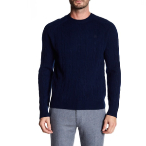Brooks-Brothers-Mens-Blue-Crew-Neck-Lambs-Wool-Pullover-Sweater-Size-XL