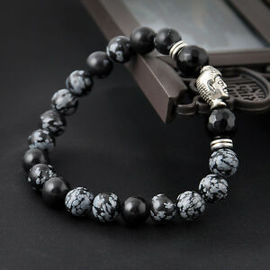 1x-Perlen-Armband-Lava-Stein-Antik-Silber-Bracelet-Chakra-Buddha