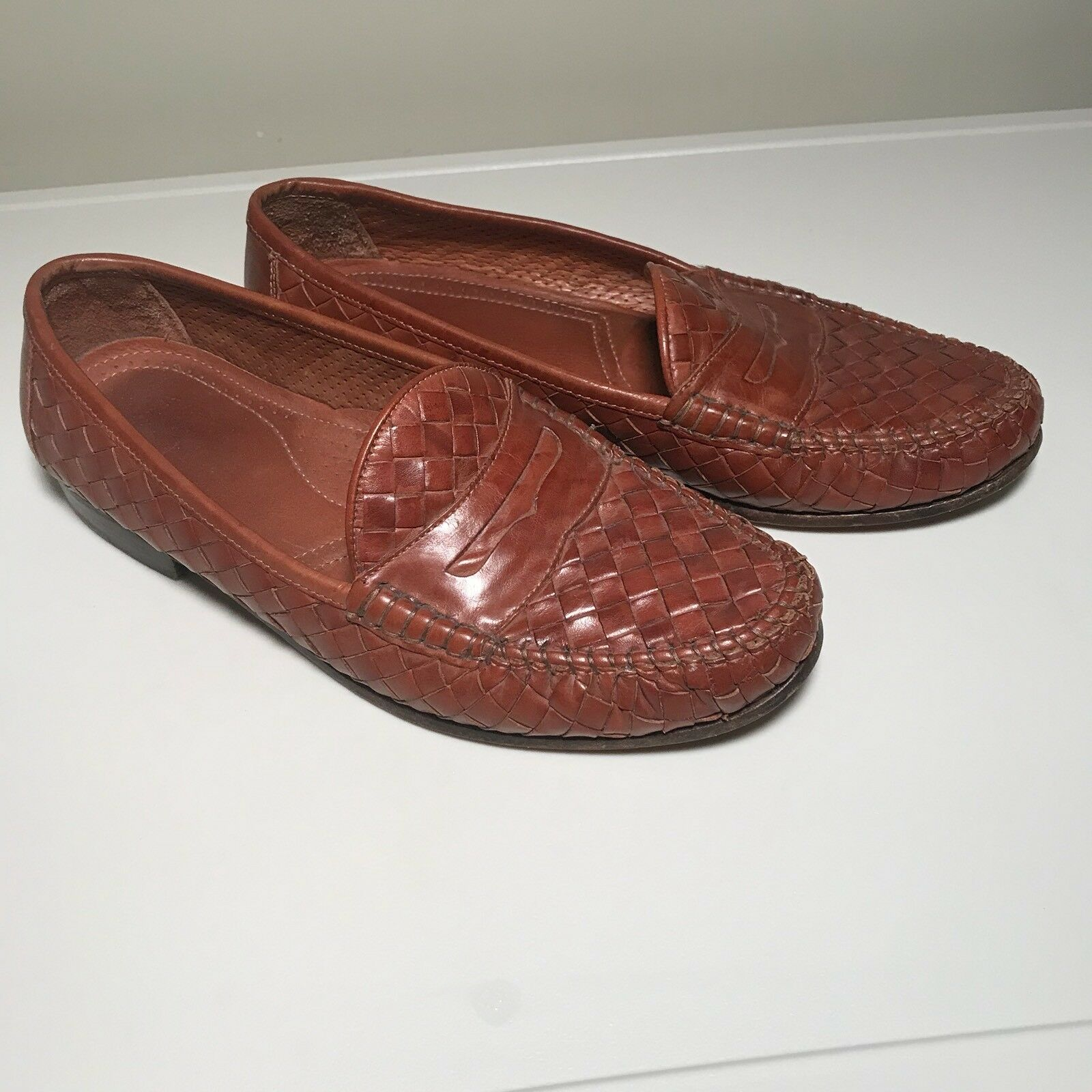 ALLEN EDMONDS ST LUCIA Brown Leather Penny Loafers shoes Moccasins Mens Size 8EE