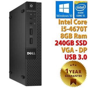 PC COMPUTER RICONDIZIONATO DELL 9020 MICRO INTEL CORE i5-4670T RAM 8GB SSD 240GB