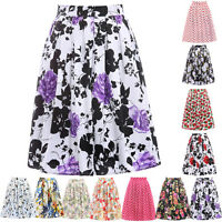 Vintage 1950s Full Midi Skirt Pleated High Waist Flared Floral Skater Tea Dress