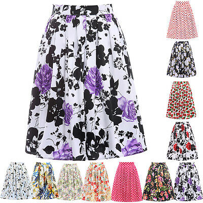 POP Floral Print Housewife Vintage 50s Midi Pleated Pinup Skirt Dress